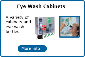 Eye wash bottles and cabinets