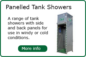 Panelled emergency tank showers